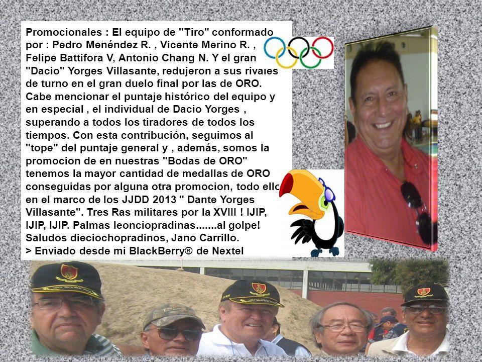 Promocionales : El equipo de Tiro conformado por : Pedro Menéndez R