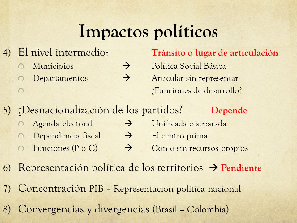 Impactos políticos 4) El nivel intermedio: Tránsito o lugar de articulación. Municipios  Política Social Básica.