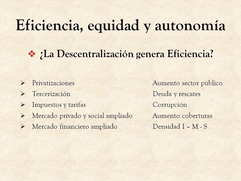 Eficiencia, equidad y autonomía