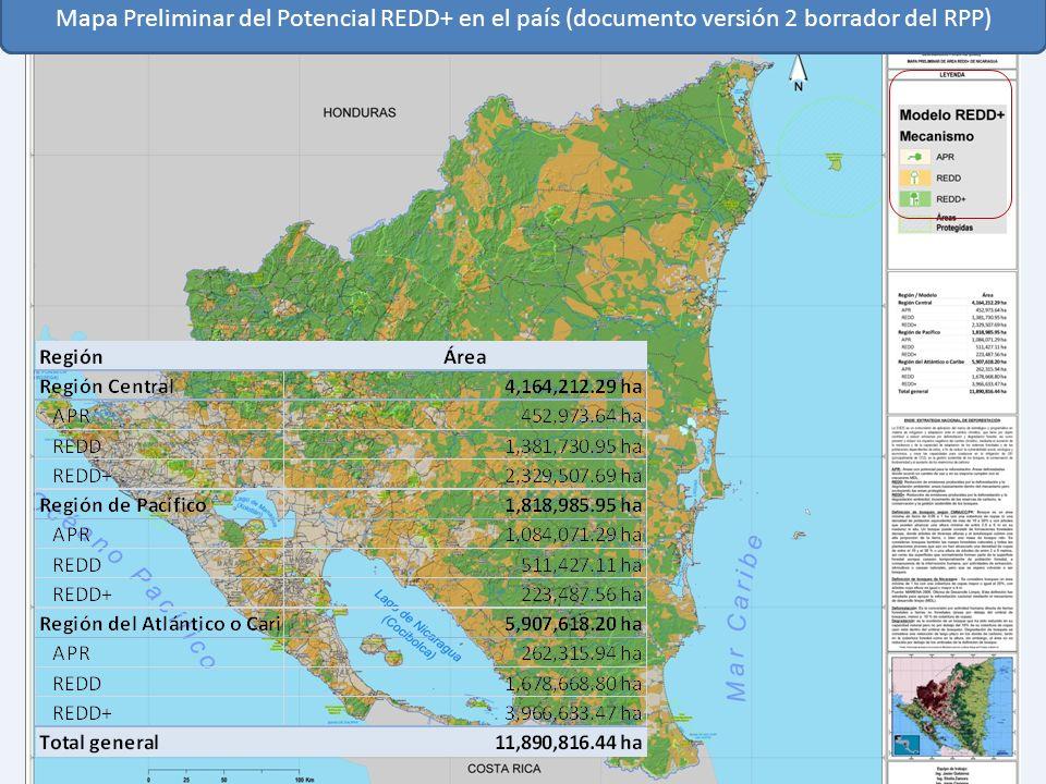 Mapa Preliminar del Potencial REDD+ en el país (documento versión 2 borrador del RPP)