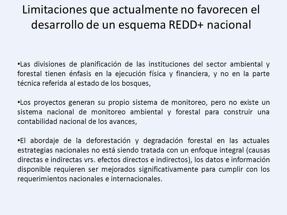 Limitaciones que actualmente no favorecen el desarrollo de un esquema REDD+ nacional