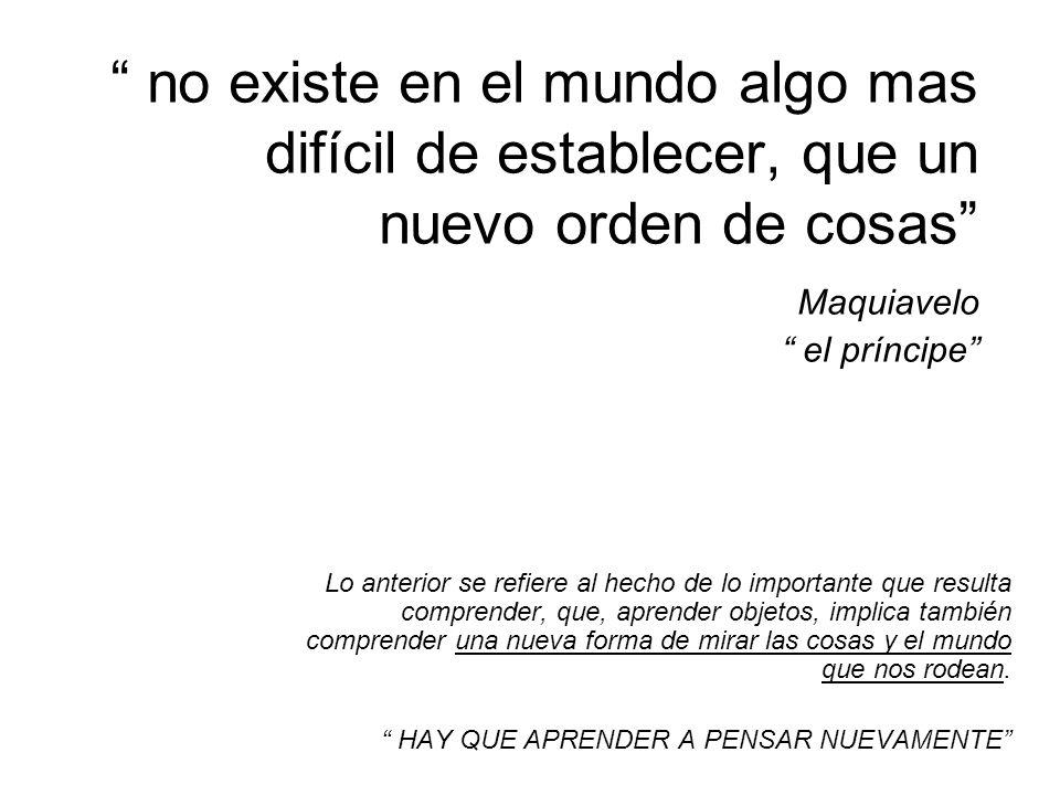 no existe en el mundo algo mas difícil de establecer, que un nuevo orden de cosas Maquiavelo el príncipe
