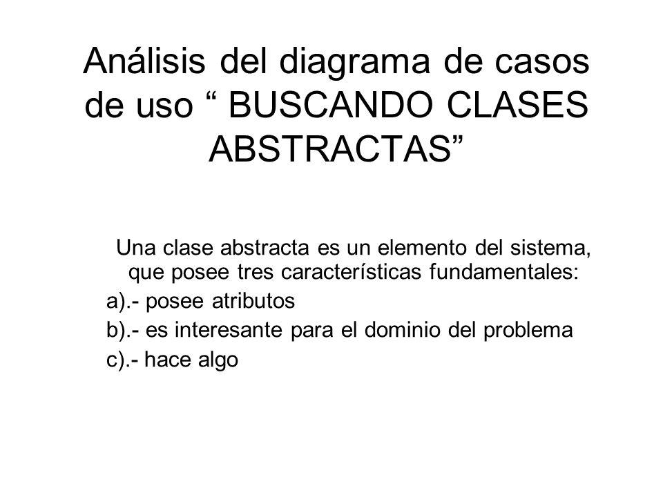 Análisis del diagrama de casos de uso BUSCANDO CLASES ABSTRACTAS