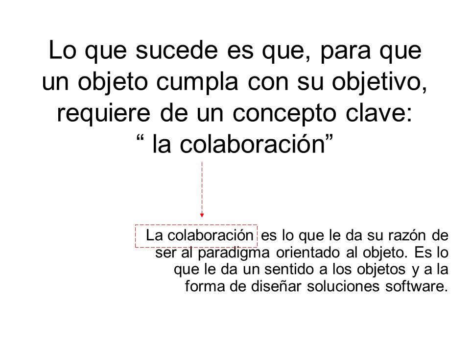 Lo que sucede es que, para que un objeto cumpla con su objetivo, requiere de un concepto clave: la colaboración