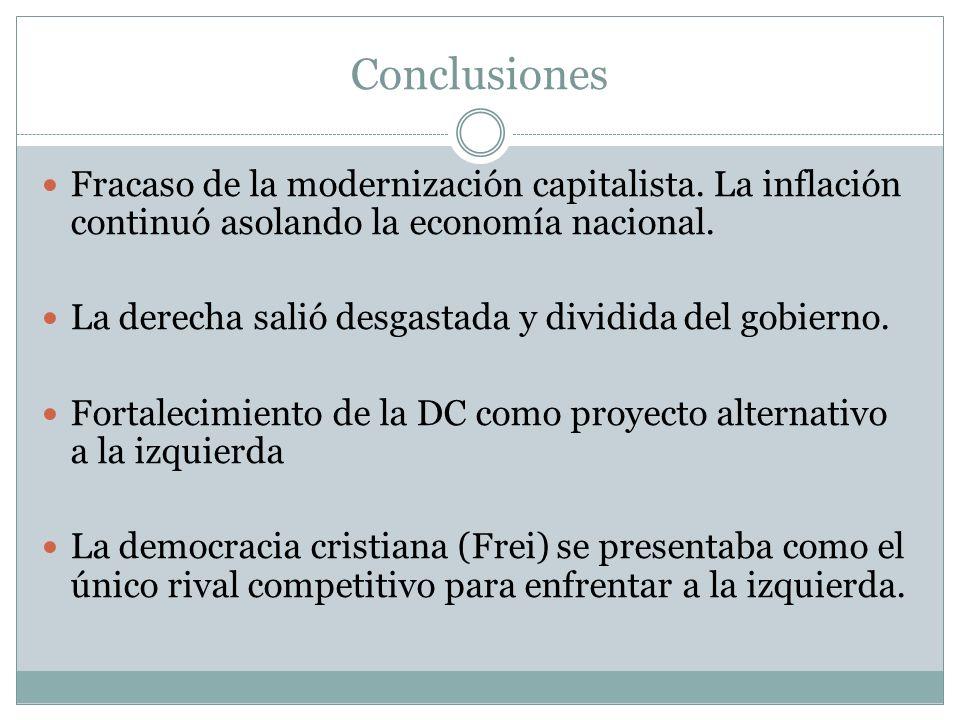 Conclusiones Fracaso de la modernización capitalista. La inflación continuó asolando la economía nacional.