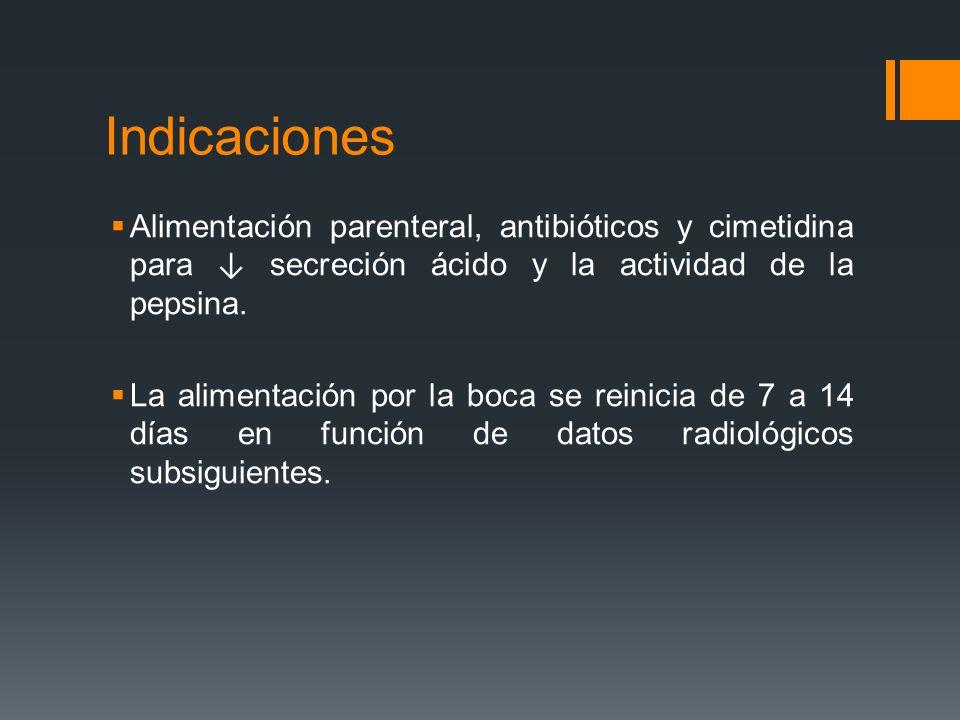Indicaciones Alimentación parenteral, antibióticos y cimetidina para ↓ secreción ácido y la actividad de la pepsina.