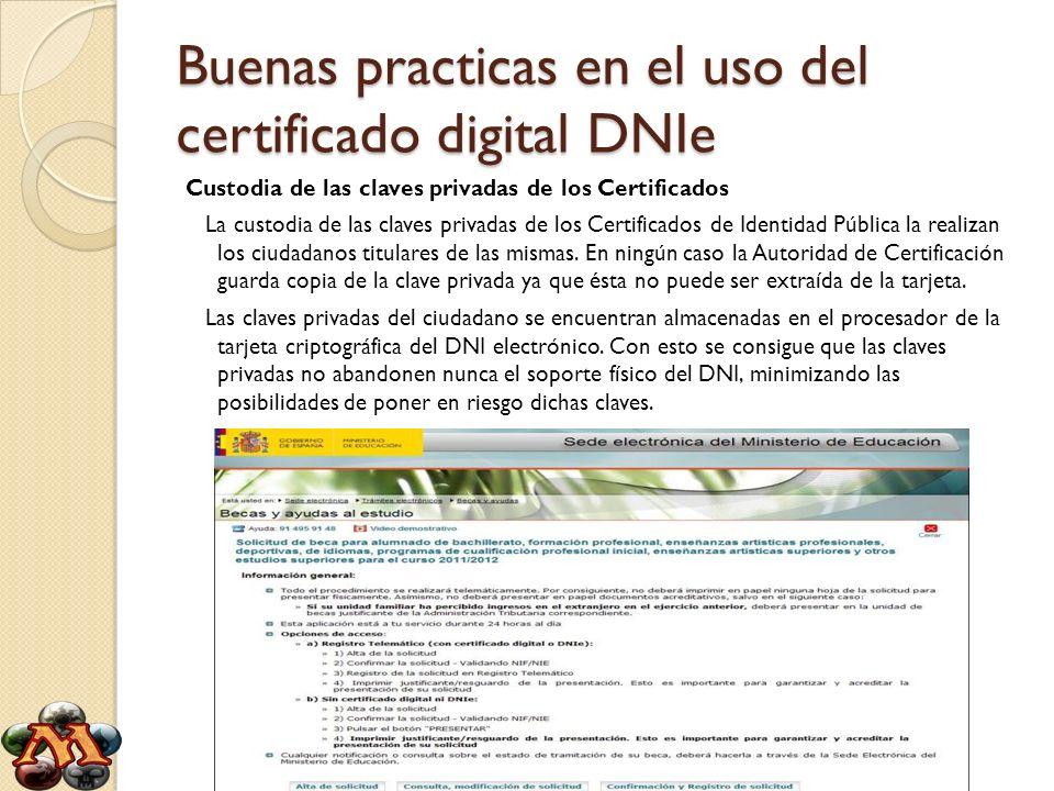 Buenas practicas en el uso del certificado digital DNIe