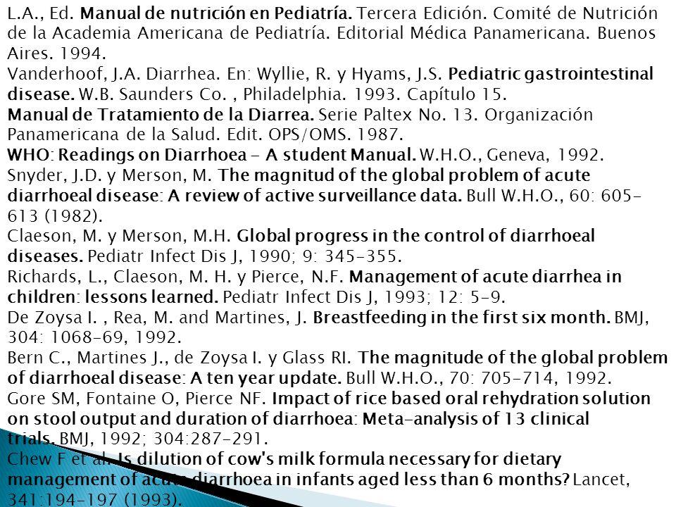 L. A. , Ed. Manual de nutrición en Pediatría. Tercera Edición