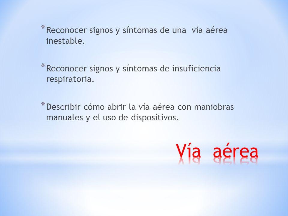 Vía aérea Reconocer signos y síntomas de una vía aérea inestable.