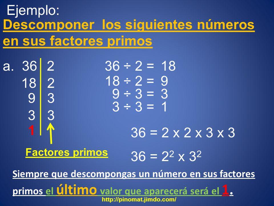 Descomponer los siguientes números en sus factores primos
