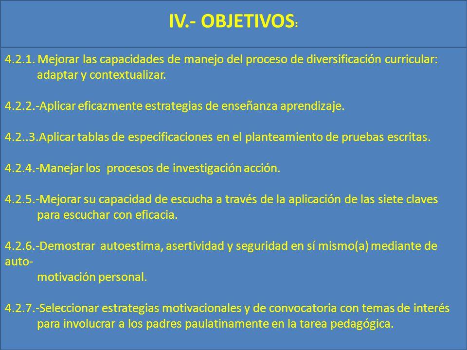 IV.- OBJETIVOS: 4.2.1. Mejorar las capacidades de manejo del proceso de diversificación curricular: