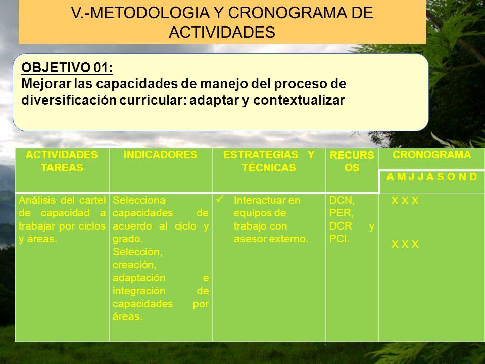 V.-METODOLOGIA Y CRONOGRAMA DE ACTIVIDADES