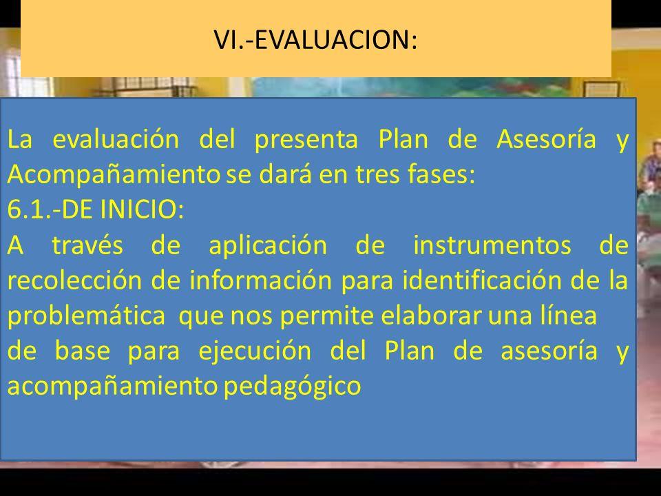 VI.-EVALUACION: La evaluación del presenta Plan de Asesoría y Acompañamiento se dará en tres fases: