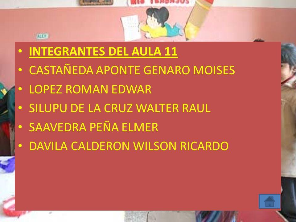 INTEGRANTES DEL AULA 11 CASTAÑEDA APONTE GENARO MOISES. LOPEZ ROMAN EDWAR. SILUPU DE LA CRUZ WALTER RAUL.