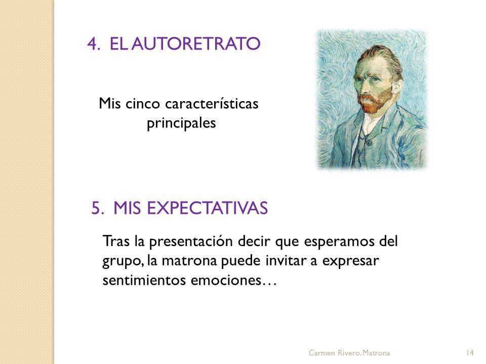 4. EL AUTORETRATO 5. MIS EXPECTATIVAS Mis cinco características
