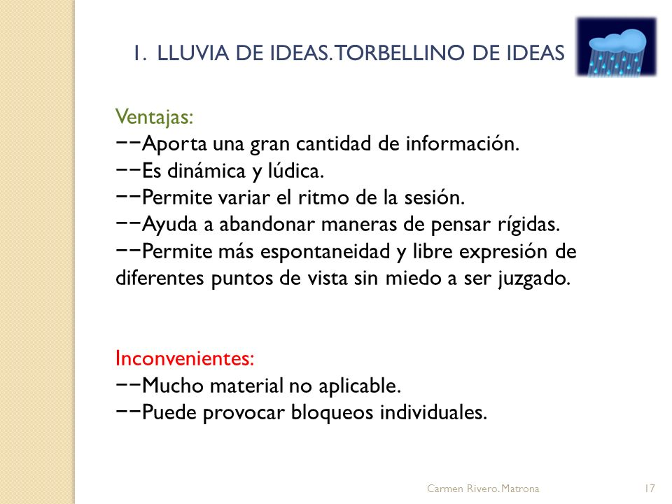 1. LLUVIA DE IDEAS. TORBELLINO DE IDEAS