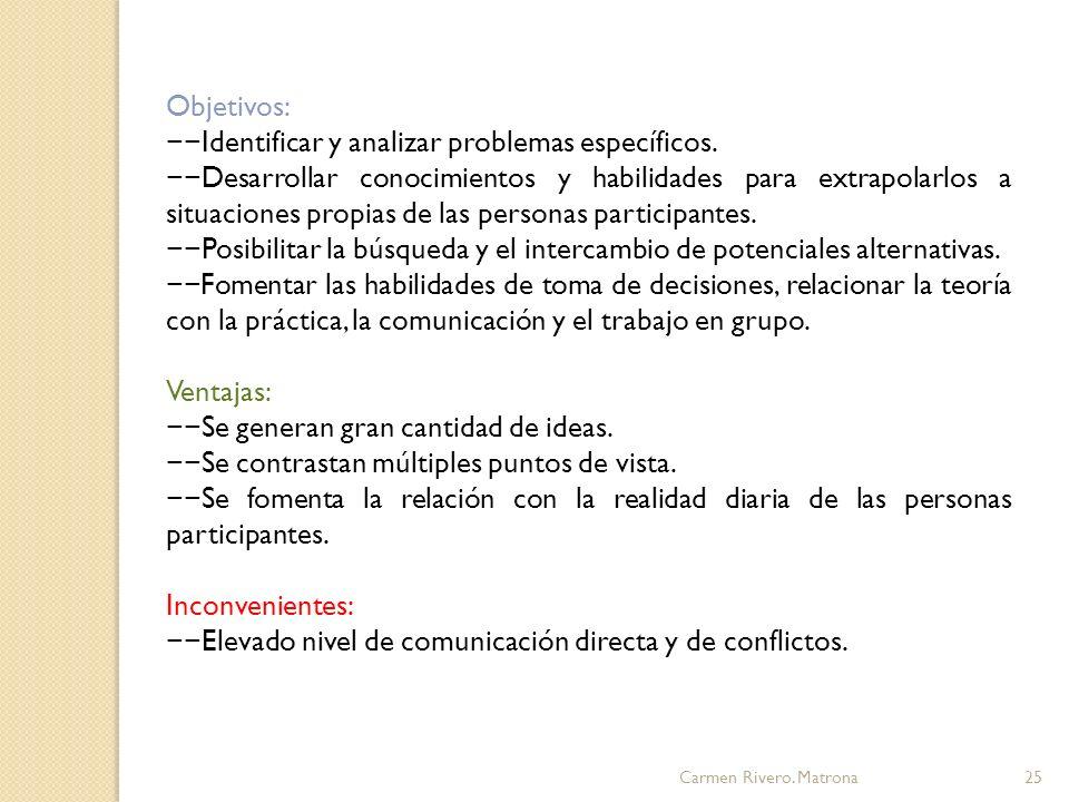 −−Identificar y analizar problemas específicos.