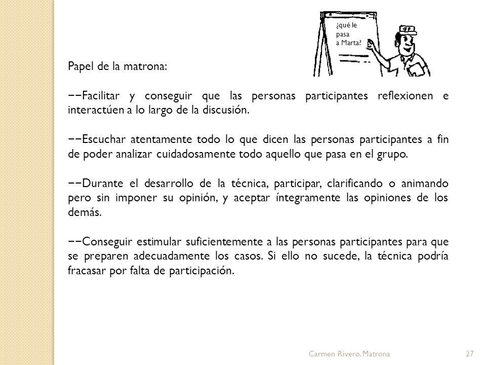 ¿qué le pasa a Marta Papel de la matrona:
