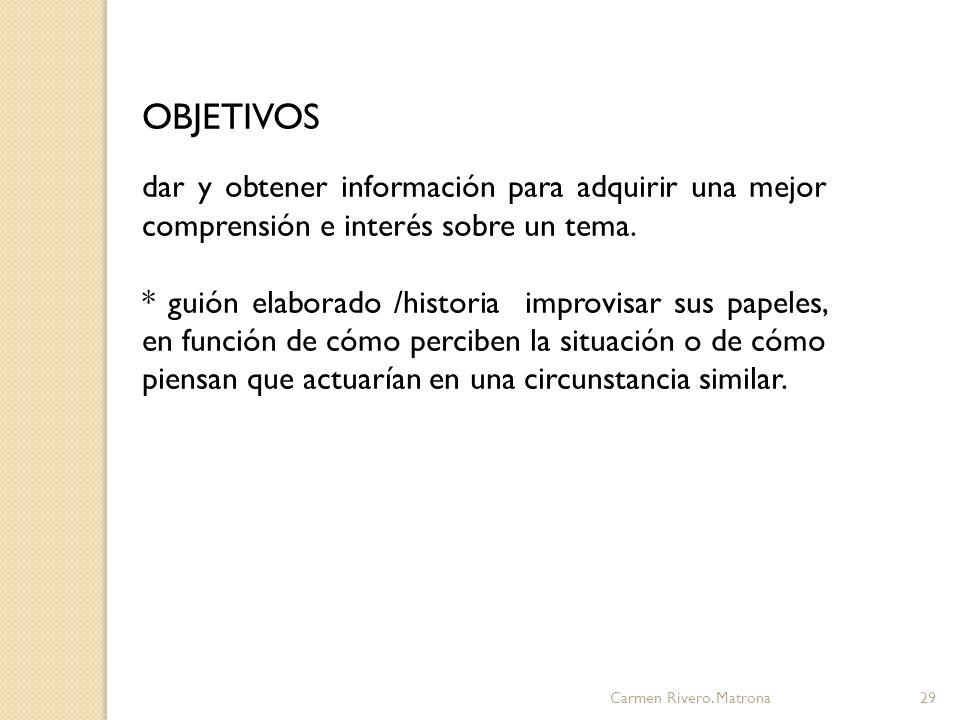 OBJETIVOS dar y obtener información para adquirir una mejor comprensión e interés sobre un tema.