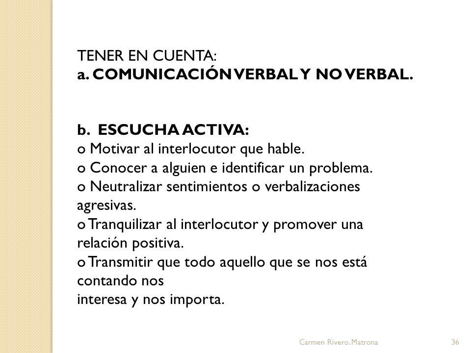 a. COMUNICACIÓN VERBAL Y NO VERBAL.