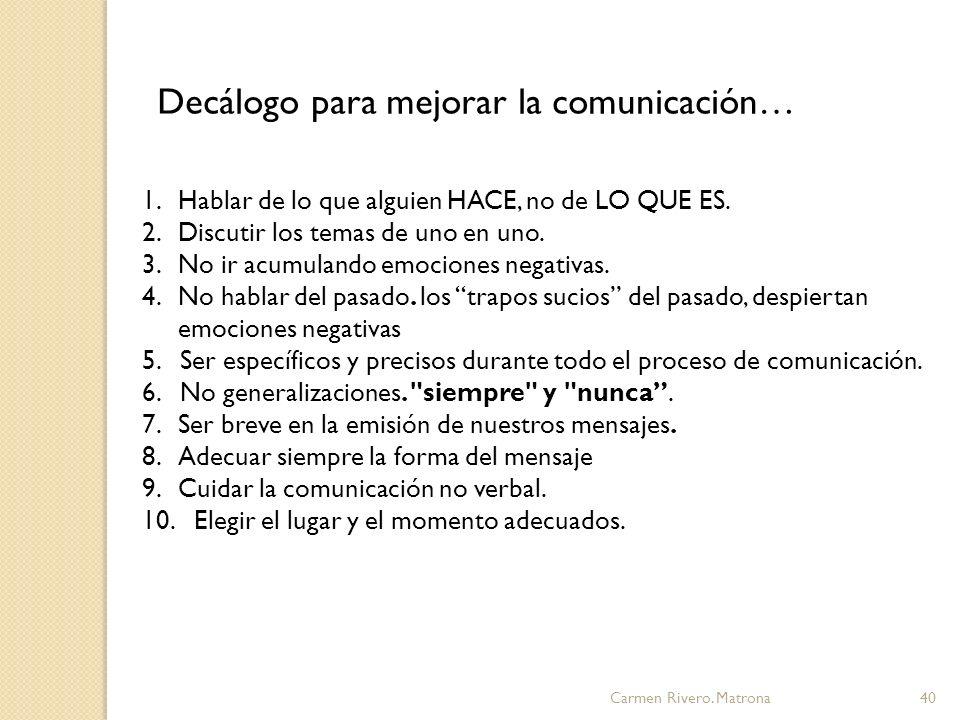 Decálogo para mejorar la comunicación…