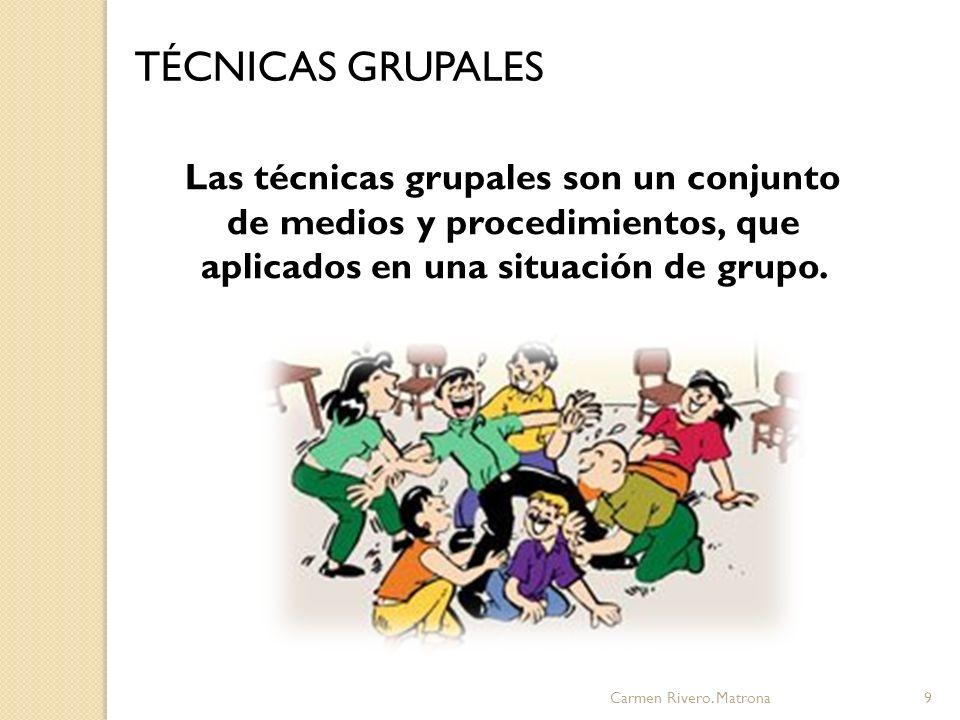 TÉCNICAS GRUPALES Las técnicas grupales son un conjunto de medios y procedimientos, que aplicados en una situación de grupo.