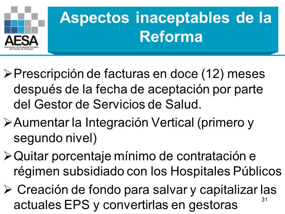 Aspectos inaceptables de la Reforma