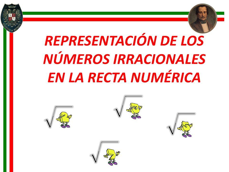 REPRESENTACIÓN DE LOS NÚMEROS IRRACIONALES EN LA RECTA NUMÉRICA
