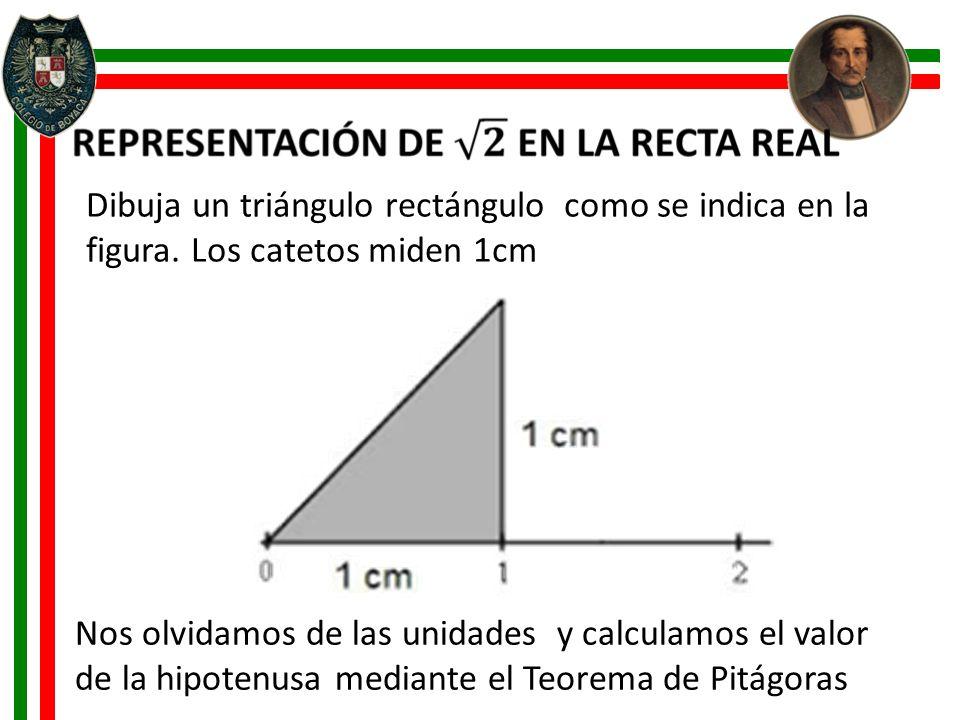 Dibuja un triángulo rectángulo como se indica en la figura. Los catetos miden 1cm.