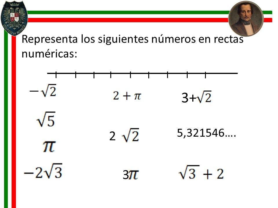 3+ 2 3 Representa los siguientes números en rectas numéricas: