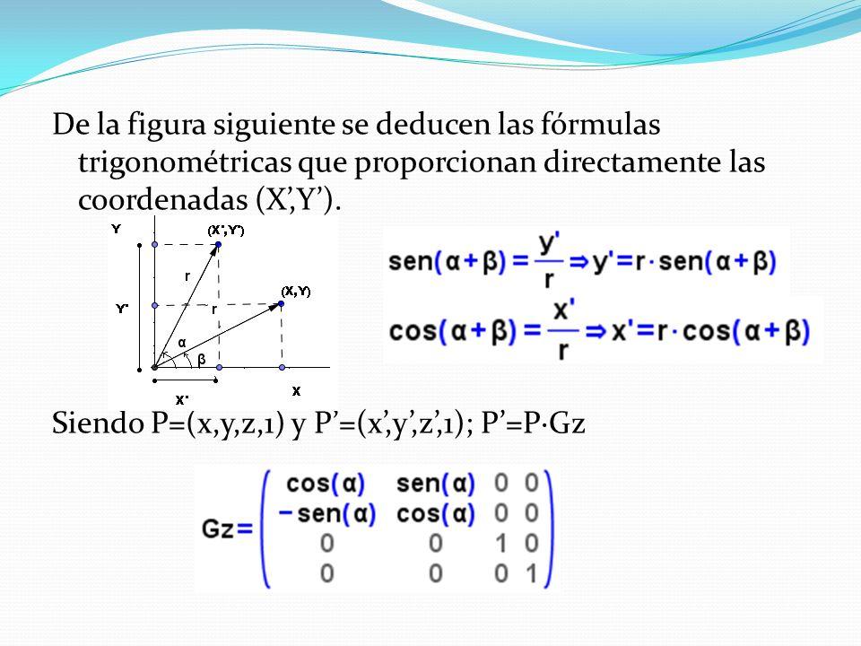 De la figura siguiente se deducen las fórmulas trigonométricas que proporcionan directamente las coordenadas (X',Y').