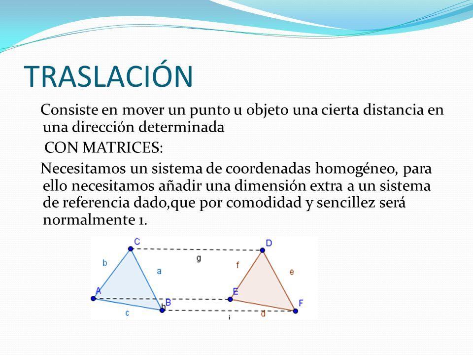 TRASLACIÓN Consiste en mover un punto u objeto una cierta distancia en una dirección determinada. CON MATRICES: