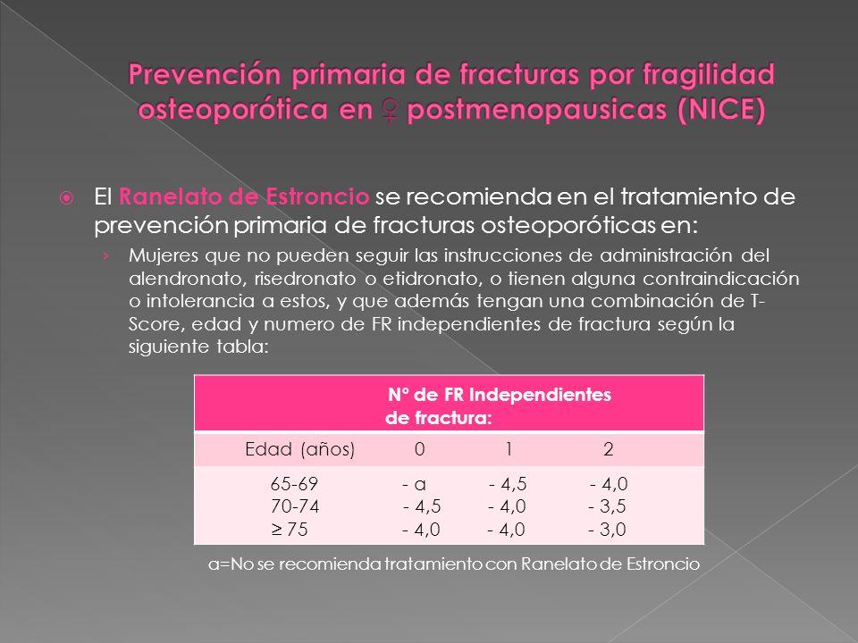 a=No se recomienda tratamiento con Ranelato de Estroncio