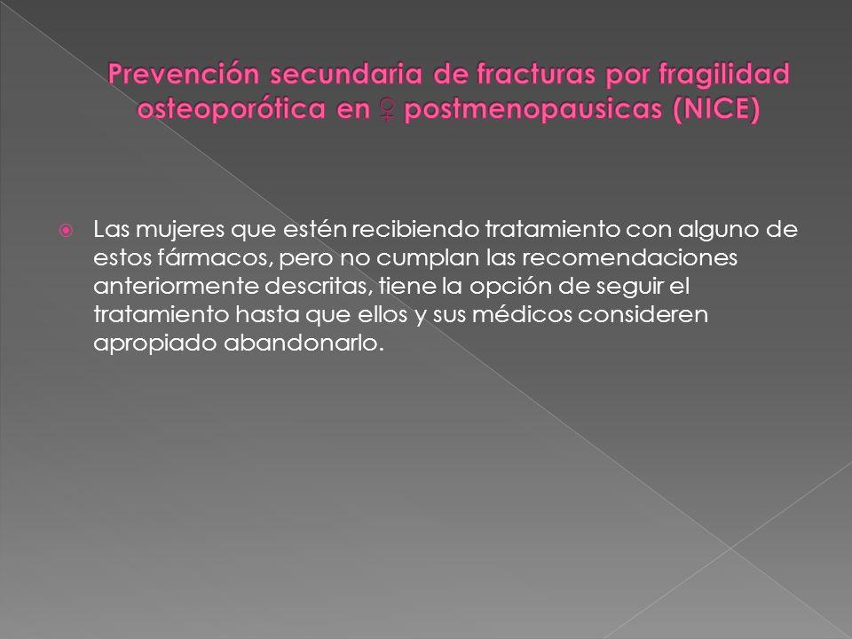 Prevención secundaria de fracturas por fragilidad osteoporótica en ♀ postmenopausicas (NICE)