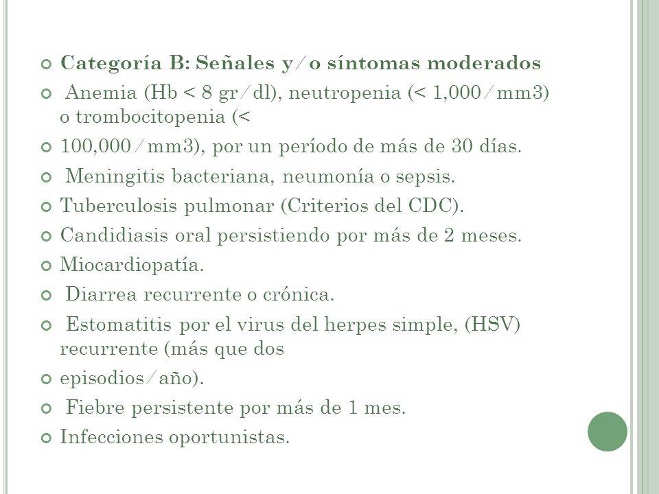 Categoría B: Señales y ⁄ o síntomas moderados