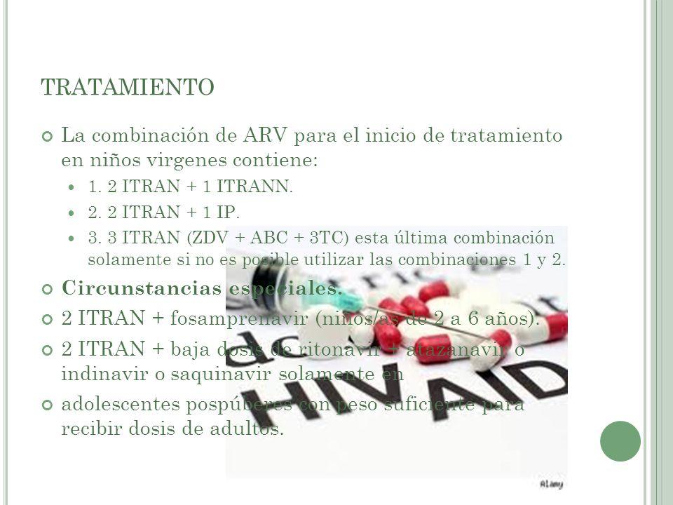 tratamientoLa combinación de ARV para el inicio de tratamiento en niños virgenes contiene: 1. 2 ITRAN + 1 ITRANN.