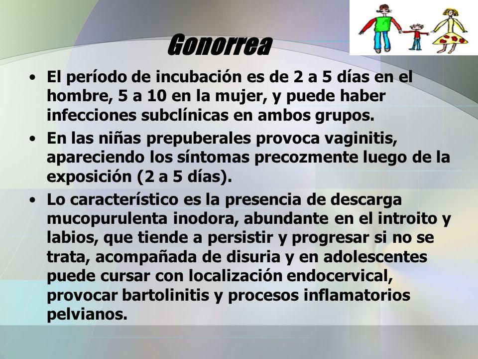 Gonorrea El período de incubación es de 2 a 5 días en el hombre, 5 a 10 en la mujer, y puede haber infecciones subclínicas en ambos grupos.