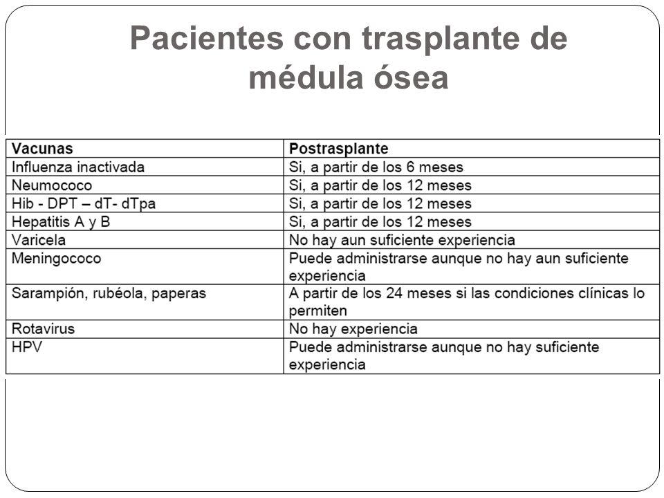 Pacientes con trasplante de médula ósea