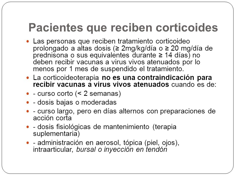 Pacientes que reciben corticoides