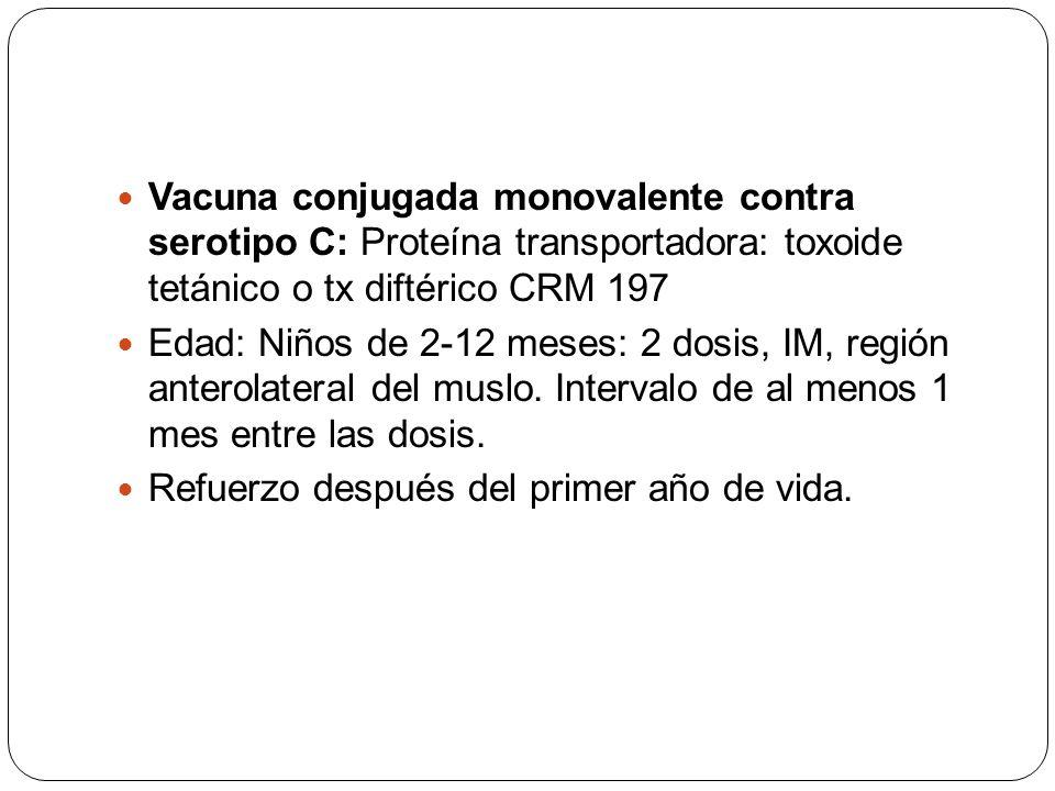 Vacuna conjugada monovalente contra serotipo C: Proteína transportadora: toxoide tetánico o tx diftérico CRM 197