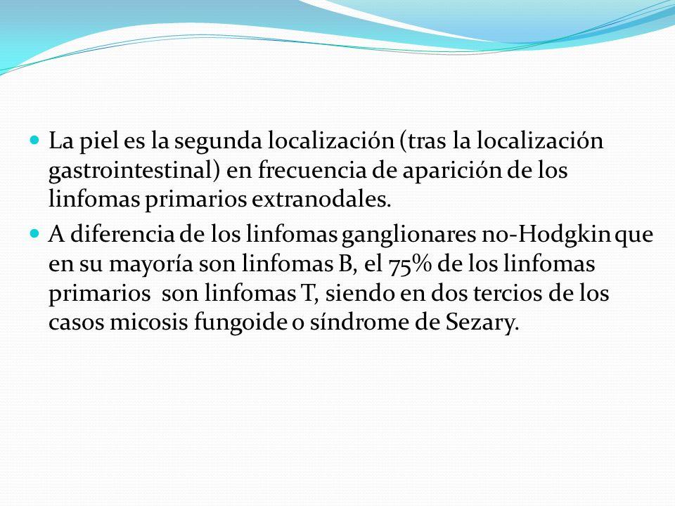 La piel es la segunda localización (tras la localización gastrointestinal) en frecuencia de aparición de los linfomas primarios extranodales.