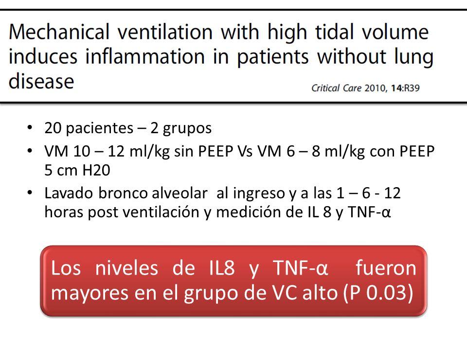 20 pacientes – 2 grupos VM 10 – 12 ml/kg sin PEEP Vs VM 6 – 8 ml/kg con PEEP 5 cm H20.