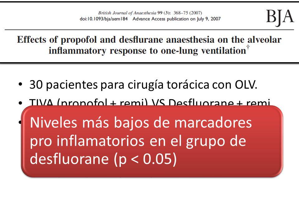 30 pacientes para cirugía torácica con OLV.