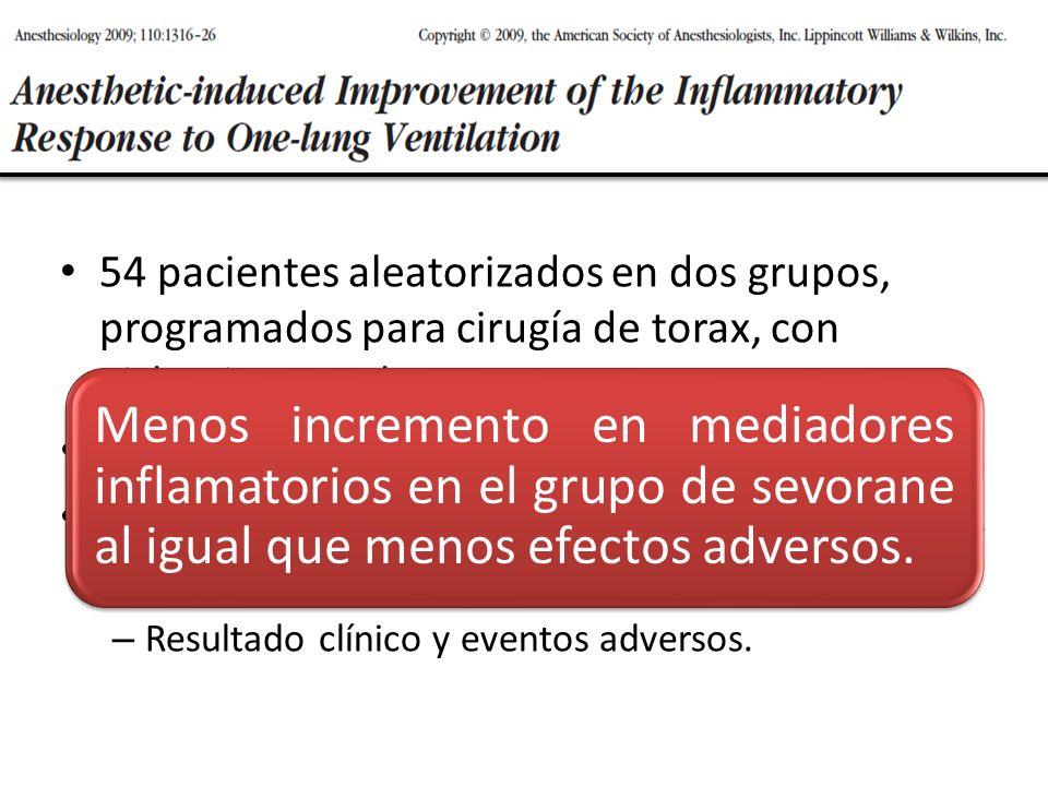 54 pacientes aleatorizados en dos grupos, programados para cirugía de torax, con aislamiento pulmonar.
