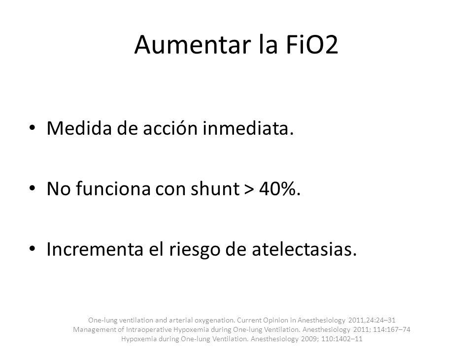 Aumentar la FiO2 Medida de acción inmediata.