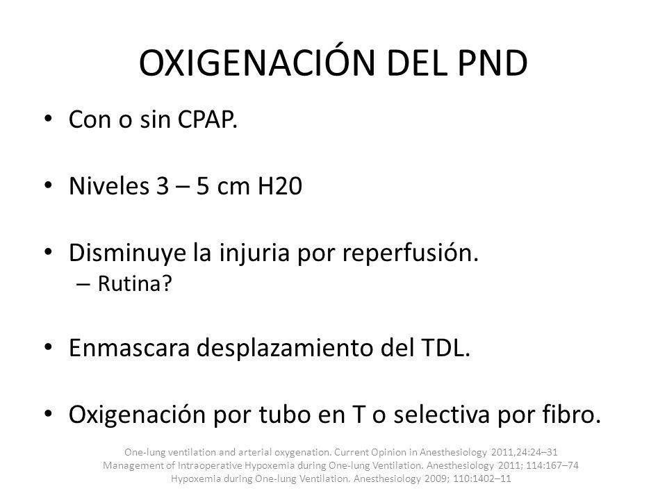 OXIGENACIÓN DEL PND Con o sin CPAP. Niveles 3 – 5 cm H20