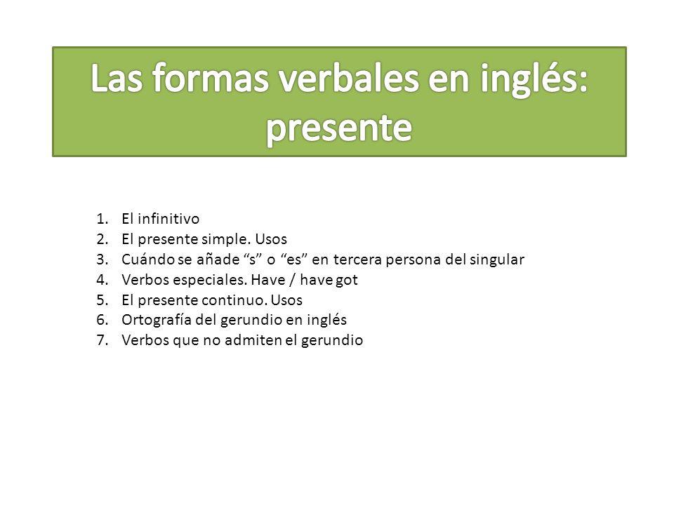 Las formas verbales en inglés: presente