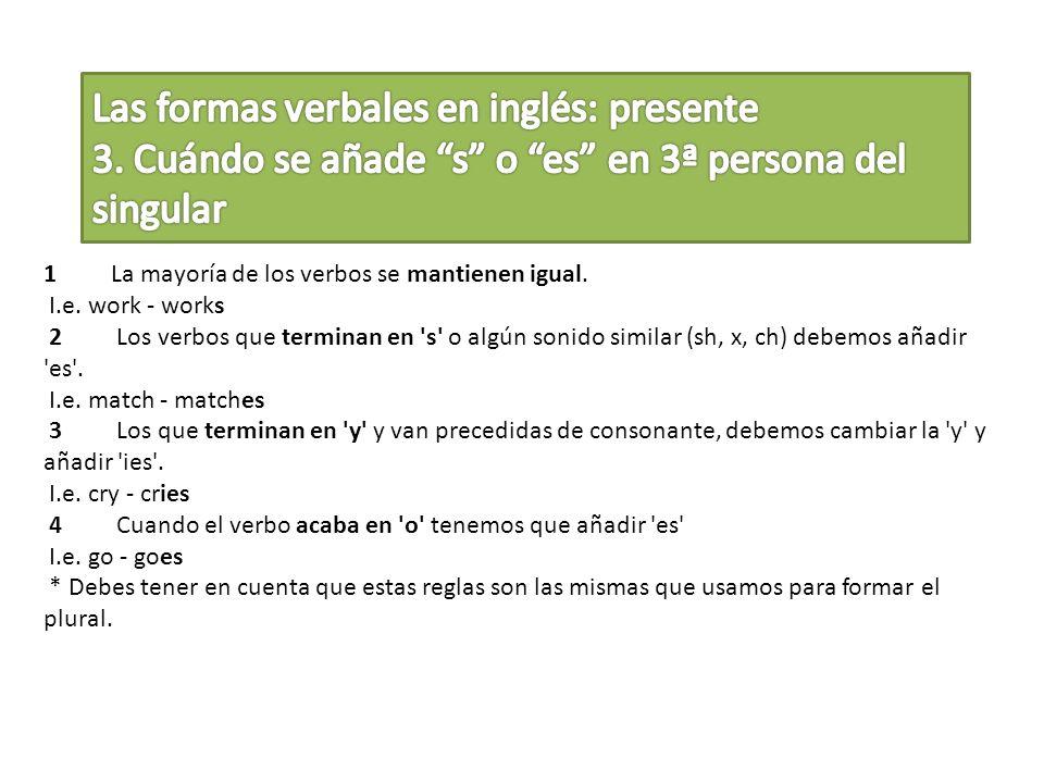 Las formas verbales en inglés: presente 3