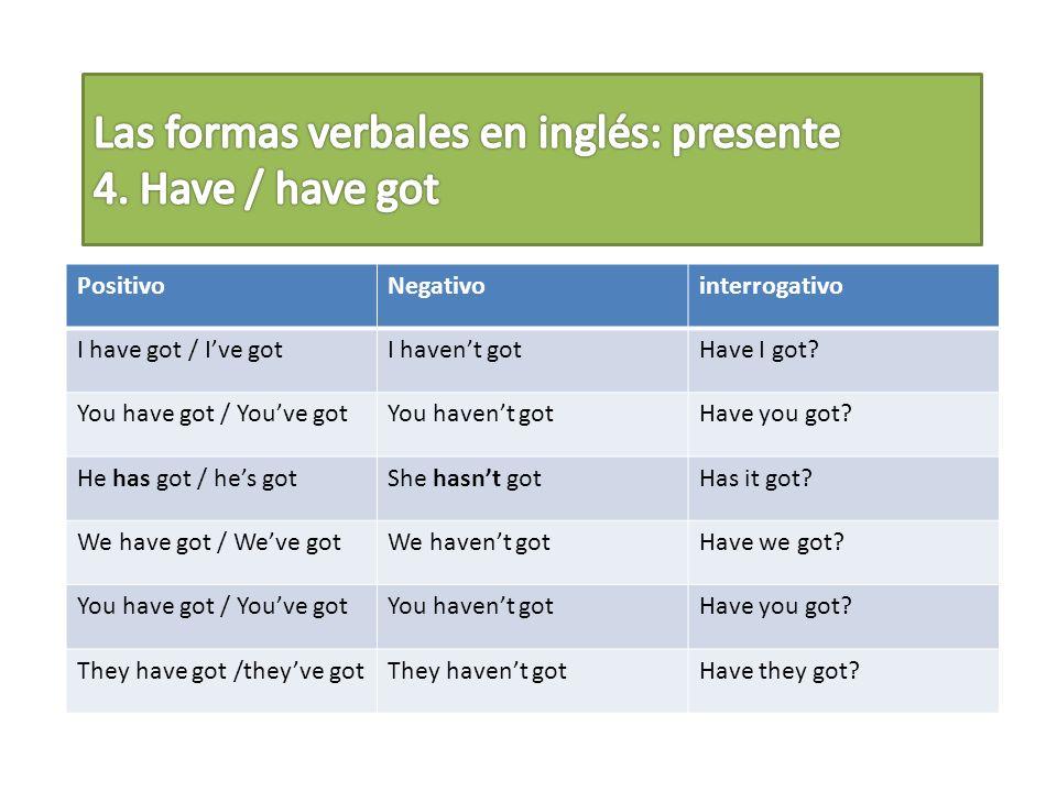 Las formas verbales en inglés: presente 4. Have / have got
