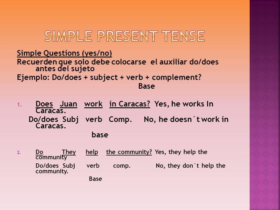 Simple Present tense Simple Questions (yes/no)